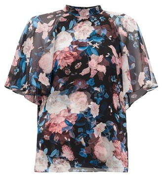 Erdem Bennett Floral-print Silk Crepe De Chine Blouse - Womens - Black Pink
