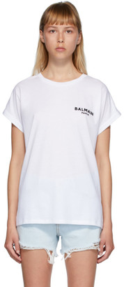 Balmain White Flocked Logo T-Shirt