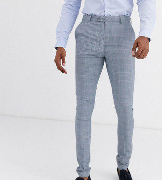 ASOS DESIGN Tall super skinny suit trousers in dusky blue puppytooth check