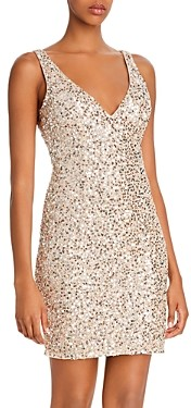 Mac Duggal Sequin V-Back Mini Dress - 100% Exclusive