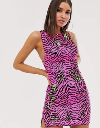 Club L London two tone sequin mini dress in contrast zebra multi