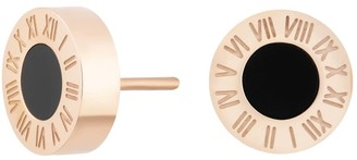 Florence London Rose Gold Florence Studs With Black Enamel