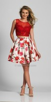 Dave and Johnny Two Piece Lace and Floral Pleated Homecoming Dress