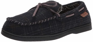 Dearfoams Men's Toby Microsuede Moccasin with Tie Slipper