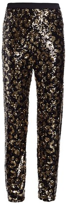 Joan Vass Petite Animal-Print Sequin Pants