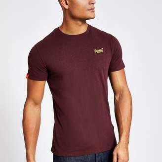 Superdry Mens River Island dark Red Orange Label T-shirt