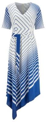 HUGO BOSS Asymmetric-hem dress in crepe georgette with foulard print