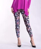 Lbisse Women's Leggings Multi - Burgundy & Blue Floral Leggings - Women & Plus