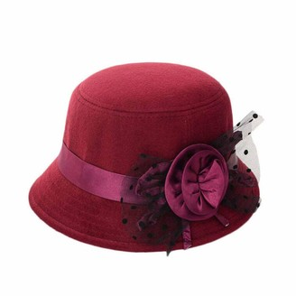Koly Women Party Travel Retro Floral Bowler Solid Color Fedora Hat Bowler Caps (Burgundy)