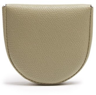 Valextra Grained-leather Coin Purse - Mens - Khaki