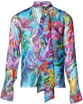 Matthew Williamson Black Maracas Montage Tie-Neck Shirt