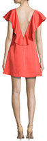 Zac Posen Dottie Crepe Ruffle-Trim Shift Dress, Red