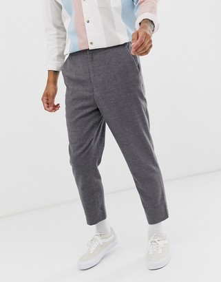 Asos Design DESIGN tapered crop smart trouser with half elasticated waist in charcoal texture-Grey