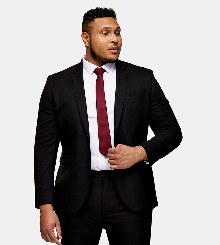Thumbnail for your product : Topman Big & Tall skinny single breasted suit jacket in black