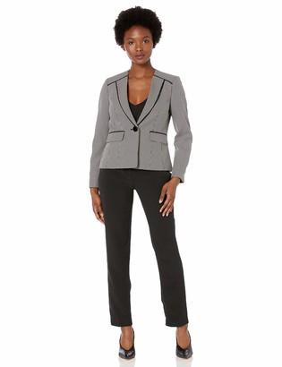 Le Suit LeSuit Women's Petite Two Tone Birdseye 1 Button Pant Suit