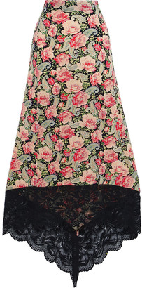 Paco Rabanne Asymmetric Lace-trimmed Floral-print Stretch-cupro Midi Skirt