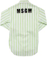 MSGM Stripe Printed Cotton Poplin Shirt Dress