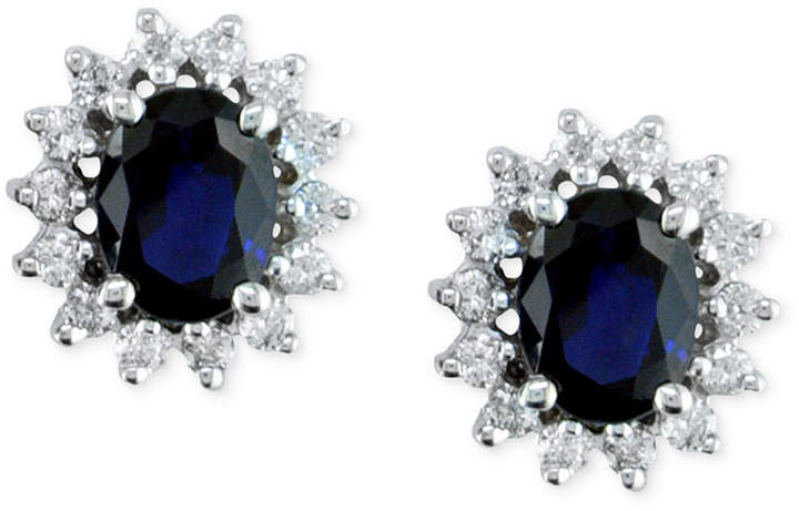 Effy Royalty Inspired by Sapphire (2-7/8 ct.t.w.) and Diamond (3/4 ct. t.w.) Stud Earrings in 14k White Gold