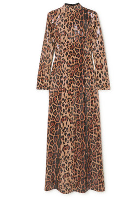 In The Mood For Love Nancy Sequined Leopard-print Jersey Maxi Dress - Leopard print