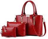 Donaword Women Retro Weave Office Pueather Handbag Set Co2