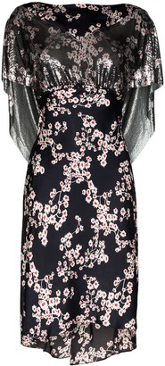 Paco Rabanne Layered Floral-Print Chainmail Midi Dress