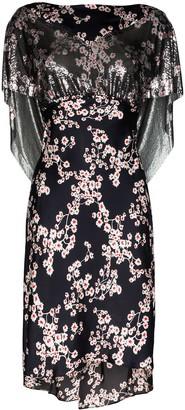 Paco Rabanne Layered Floral-Print Chainmail Midi Dress
