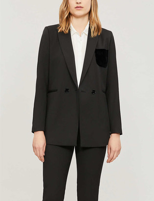 Sandro Velvet-pocket stretch-woven double-breasted blazer