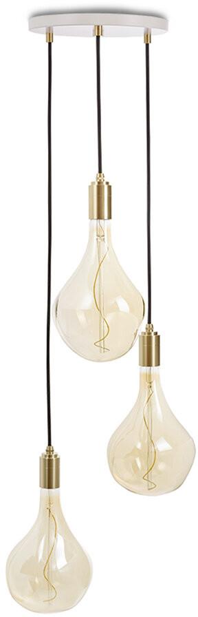 Tala Triple Pendant White with Voronoi II - Brass