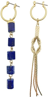Farra Lapis Lazuli & Metal Fringe Elongated Unmatching Earrings