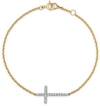 Bloomingdale's Diamond Cross Bracelet in 14K Yellow & White Gold, 0.15 ct. t.w. - 100% Exclusive