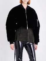 Unravel Cropped velvet bomber jacket