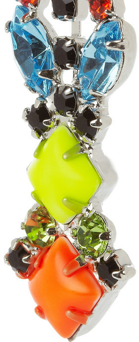 Tom Binns Fluro Faux rhodium and silver-plated Swarovski crystal earrings