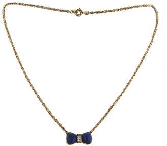 Van Cleef & Arpels 1980s Pre-Owned Yellow Gold, Lapis-Lazuli And Diamond Bow Pendant Necklace