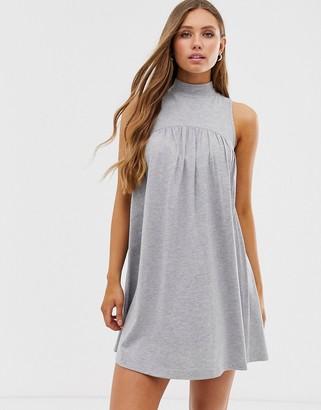 Asos Design DESIGN high neck mini sleeveless smock dress-Gray