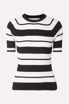 Jason Wu Collection - Ribbed Striped Silk-blend Sweater - Black
