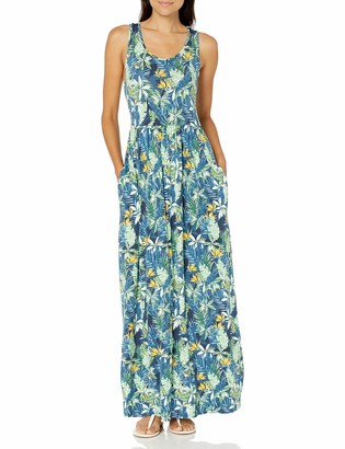 28 Palms Standard Women's Tropical Hawaiian Print Sleeveless Maxi Dress