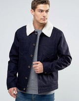 Esprit Denim Jacket With Borg Collar And Check Lining