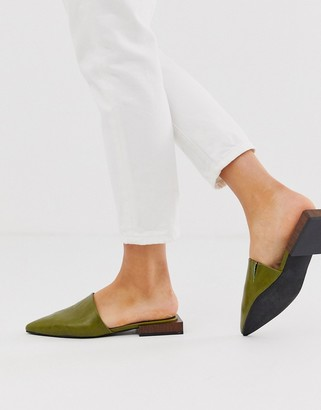 Asos Design DESIGN Magic flat mules in olive-Green