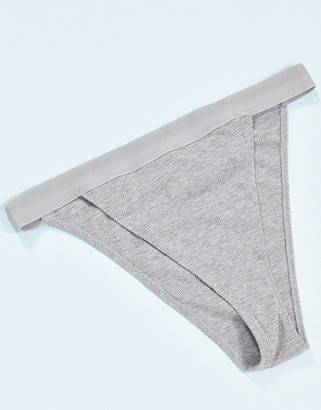 ASOS DESIGN Effie cotton ribbed high waisted brazilian knicker with elastic in grey