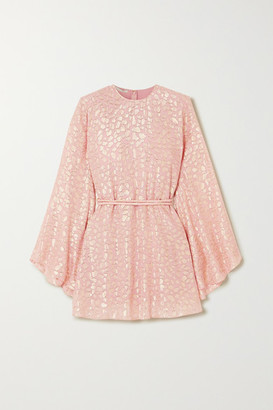 Stella McCartney Belted Metallic Fil Coupe Silk-blend Mini Dress - Pink