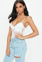 Missguided Tall White Strappy Non-Wired Lace Panel Bodysuit
