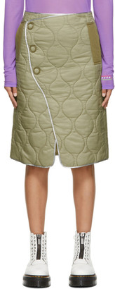 Sjyp Khaki Quilted Wrap Skirt