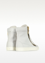 Giuseppe Zanotti White Tumbled Calfskin High-top Sneaker