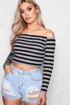 boohoo Plus Sara Stripe Rib Off Shoulder Crop Top