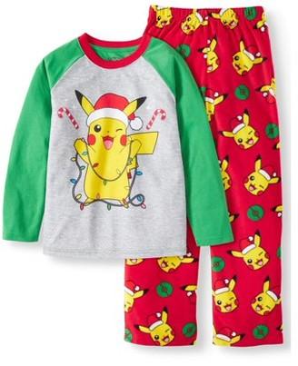 Pokemon Boys' Holiday Pikachu Long Sleeve Top and Printed Micro Fleece Pant, 2-Piece Christmas Pajama Set (Little Boys & Big Boys)