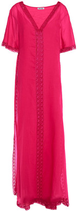 Charo Ruiz Ibiza Crochet-trimmed Cotton-blend Voile Maxi Dress