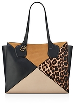 Anne Klein Julia East/West Leopard Print Large Calf Hair and Leather Tote