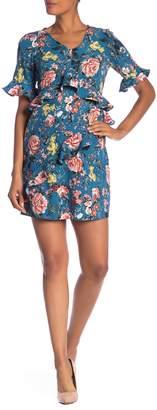 Laundry by Shelli Segal Asymmetrical Ruffle Floral Dress