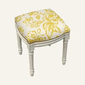 Kelly Clarkson Home Philomene Toile Linen Upholstered Solid Wood Vanity Stool Color: Mustard