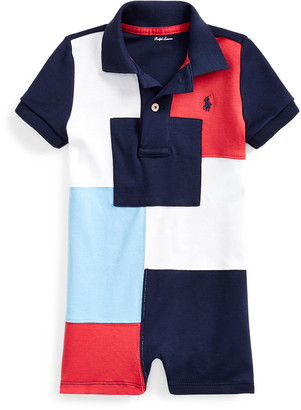 Ralph Lauren Kids Interlock Patchwork Polo Shortall, Size 3-18 Months